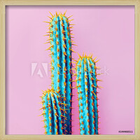 Set Neon Cactus. Minimal creative stillife Картини в рамка