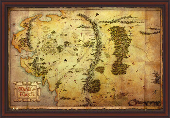 Плакат с рамка The Hobbit - Middle Earth Map